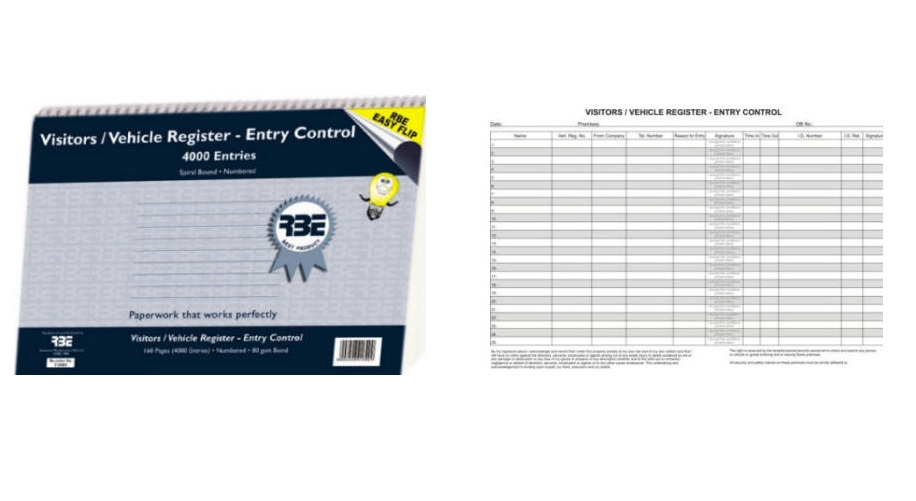 RBE Visitor Vehicle Reg Book Entry Control A4