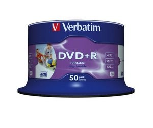 Verbatim DVD+R Printable 16x Speed 50 Spindle