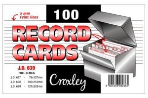 Croxley JD639 Record Cards 127mmx203mm
