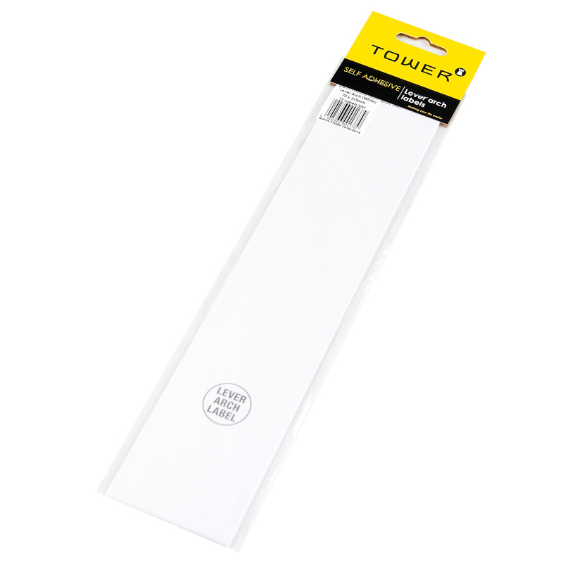 Tower Lever Arch Label 100 White 70mmx320mm