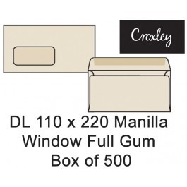 Croxley Envelopes Dl 110x220 Window Full Gum - Enb92mw