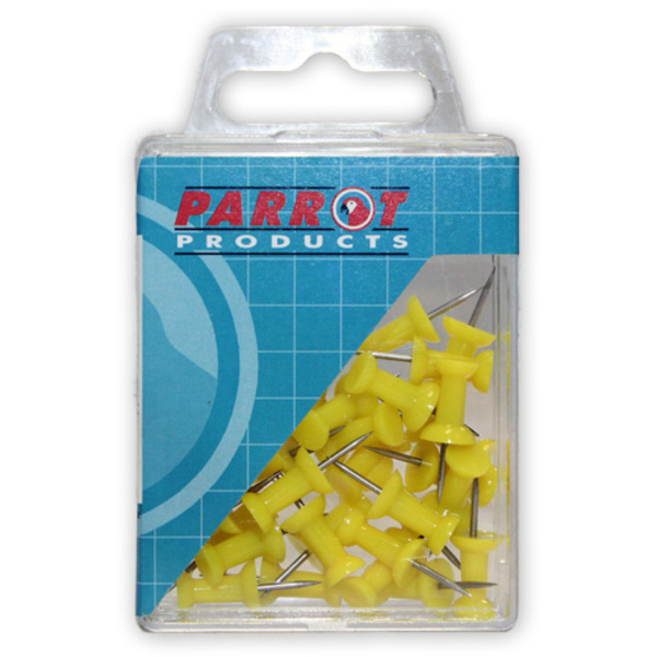Parrot Thumb Tacks Carded Pack 25 Yellow