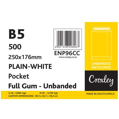 Croxley 250X176mm B5 Pocket Full Gum Unbanded White Envelopes