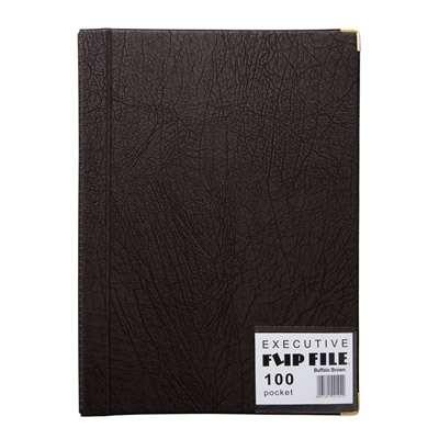 Exec Flip File 100 Page Black