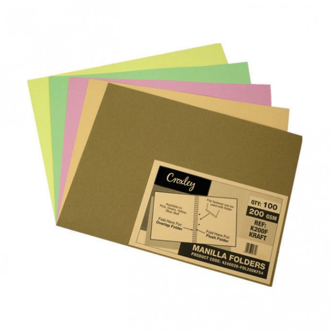 Manilla Folders 180gsm Kraft Pack 100