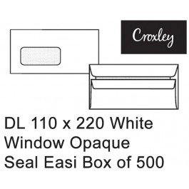 Croxley Envelopes Dl 110x220 Window Seal Easi Opaque - Enb92seww