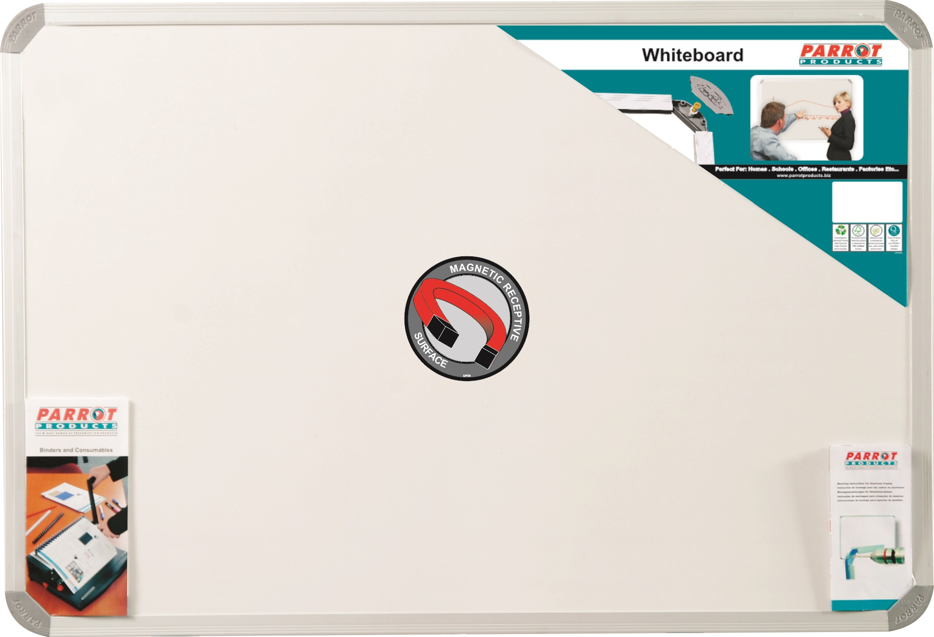 Parrot Whiteboard Magnetic 900mmx600mm