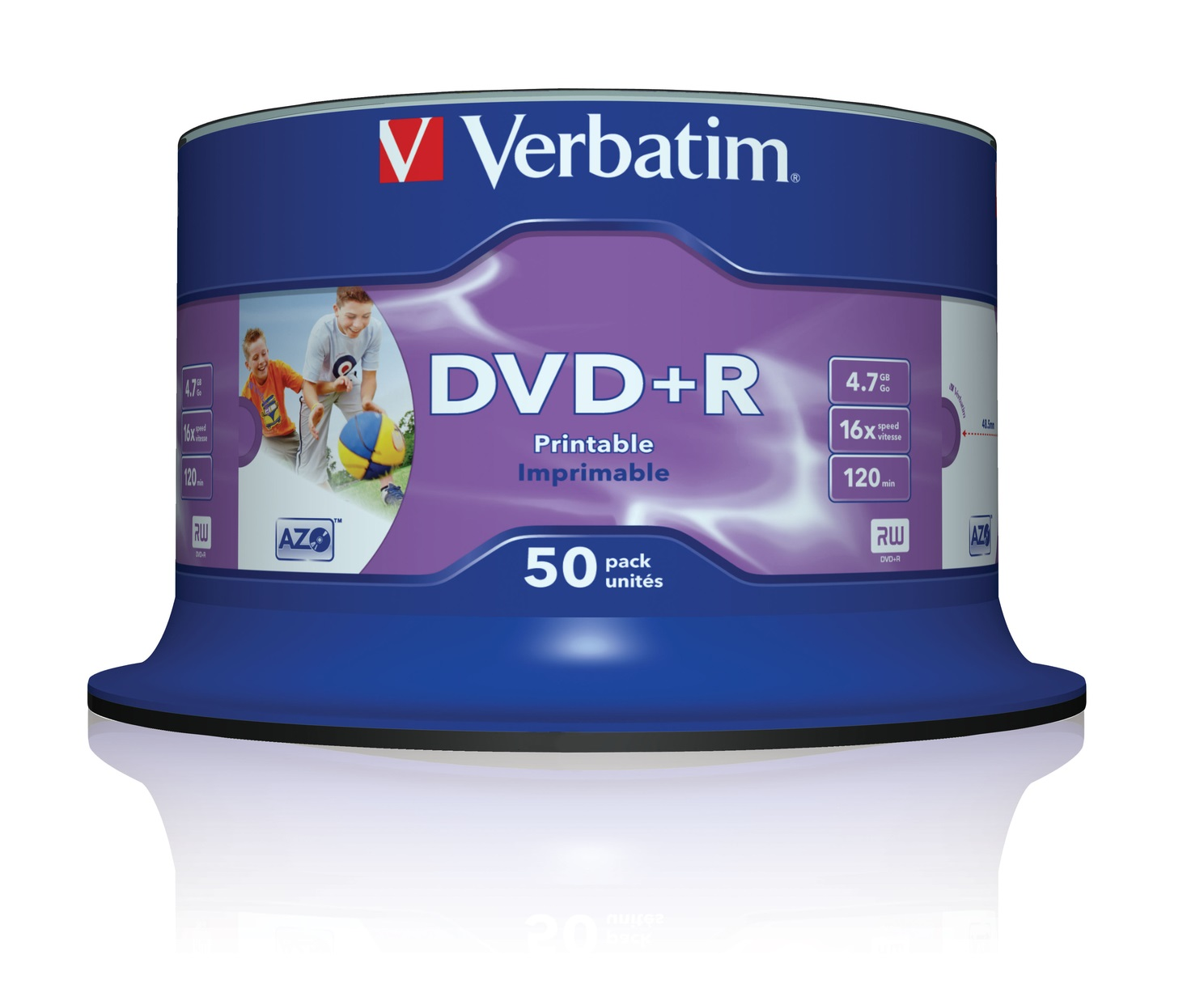 Verbatim DVD+R 4.7GB 16x Speed Wide Ink Printable 50 Spindle