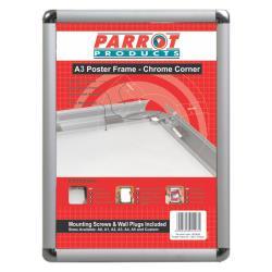 Parrot Poster Frame A3 480mmx360mm Chrome Corner