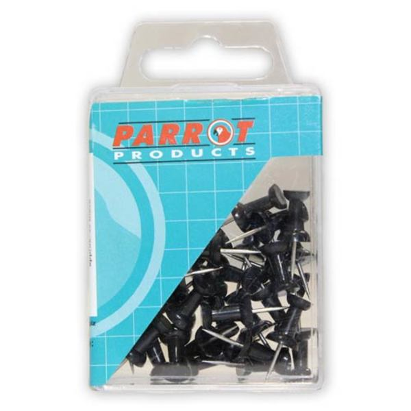 Parrot Thumb Tacks Carded Pack 25 Black