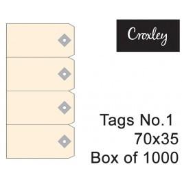 Croxley No 1 Buff Tags 70mmx35mmmm - Tag1