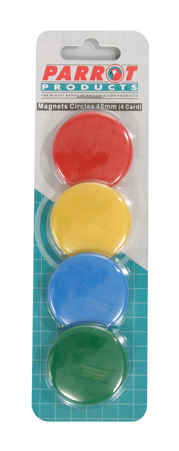 Parrot Magnets Circle 40mm (4-Card) Assorted