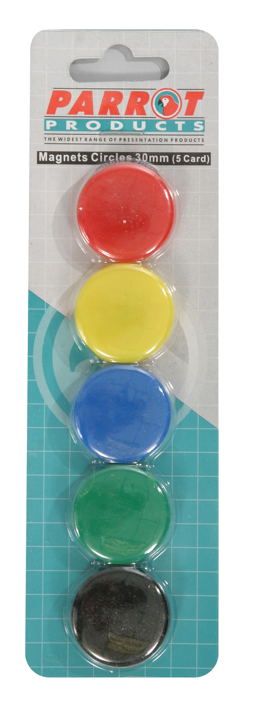 Parrot Magnets Circle 30mm (5-Card) Assorted