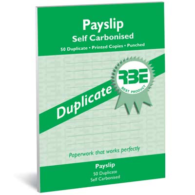 RBE Payslip Pad Self Carbonised Duplicate 50 Sheets