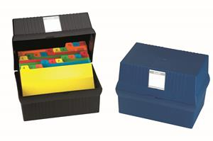 Bantex A6 Card File Box Blue