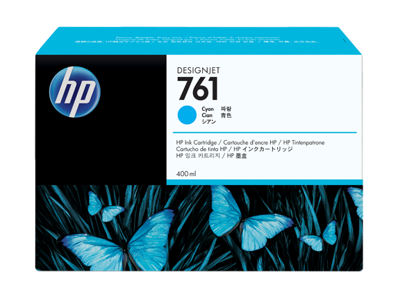 HP 761 400ML Cyan Ink Cartridge/Designjet T7100