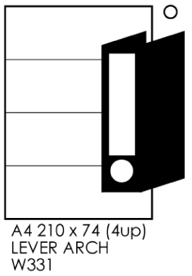 Tower A4 210X74 (4up) Lever Arch Labels