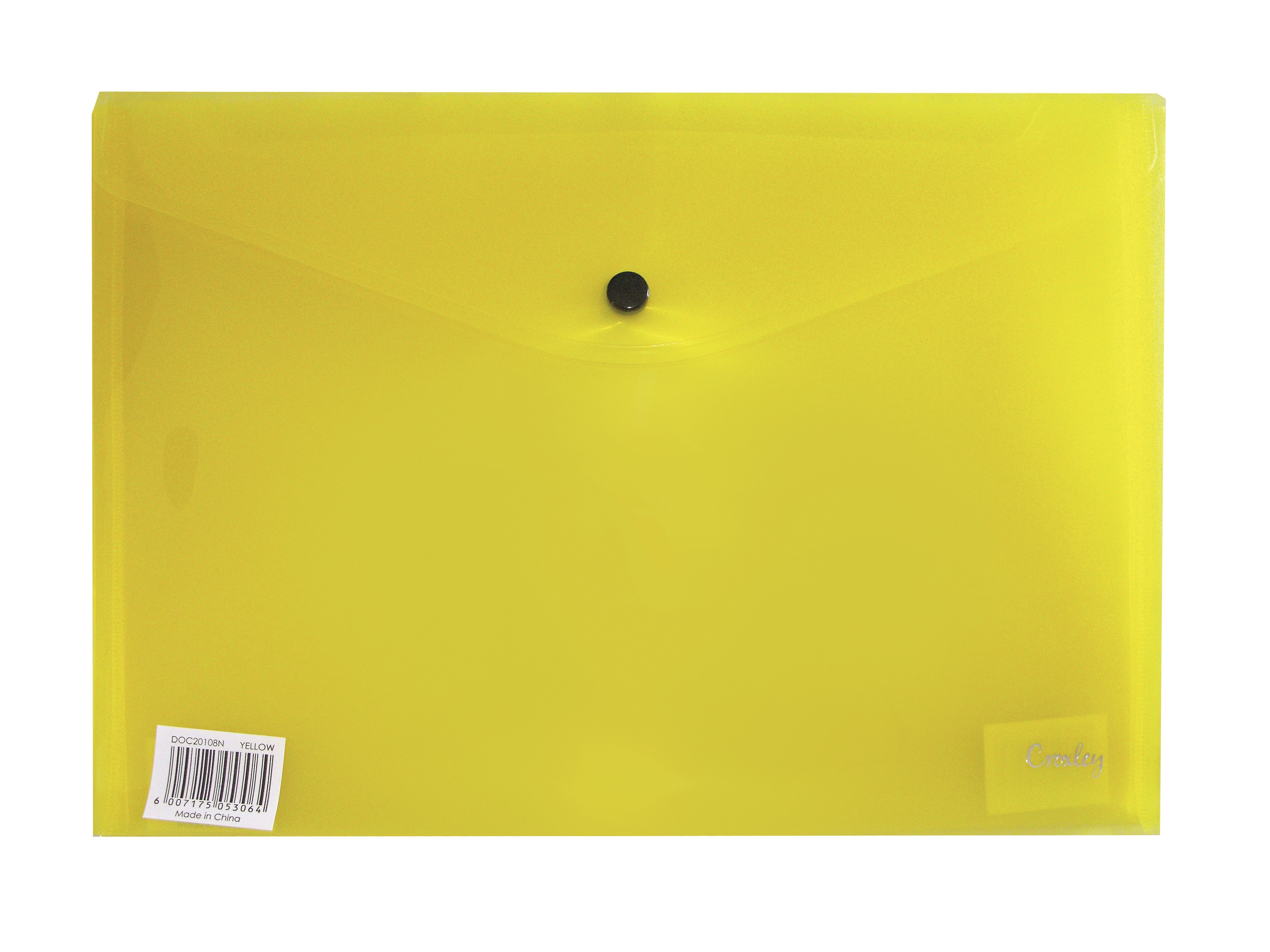 Croxley A4 Envelope with Button - Yellow PK 12