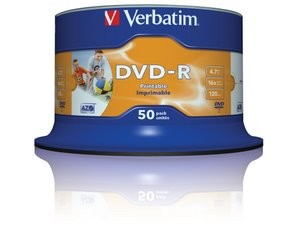 Verbatim DVD-R 4.7GB 16x Speed Wide Ink Print 50 Spindle