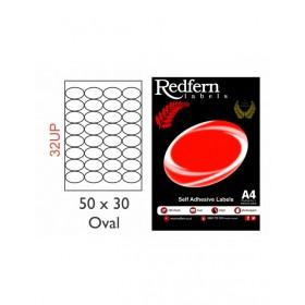 Redfern Laser Labels 50x30 Oval - 32Up