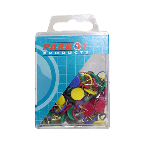 Parrot Drawing Pins Boxed Pack 100 Assorted