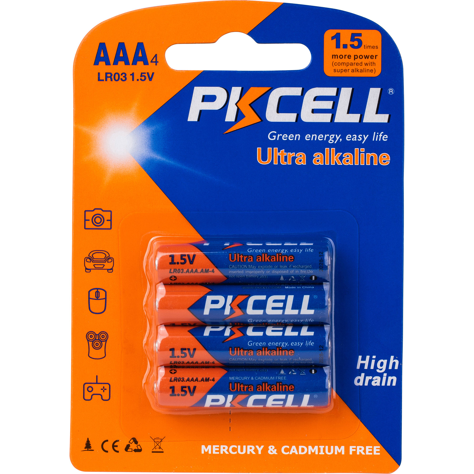 PK CELL AAA X 4 ALKALINE BATTERY