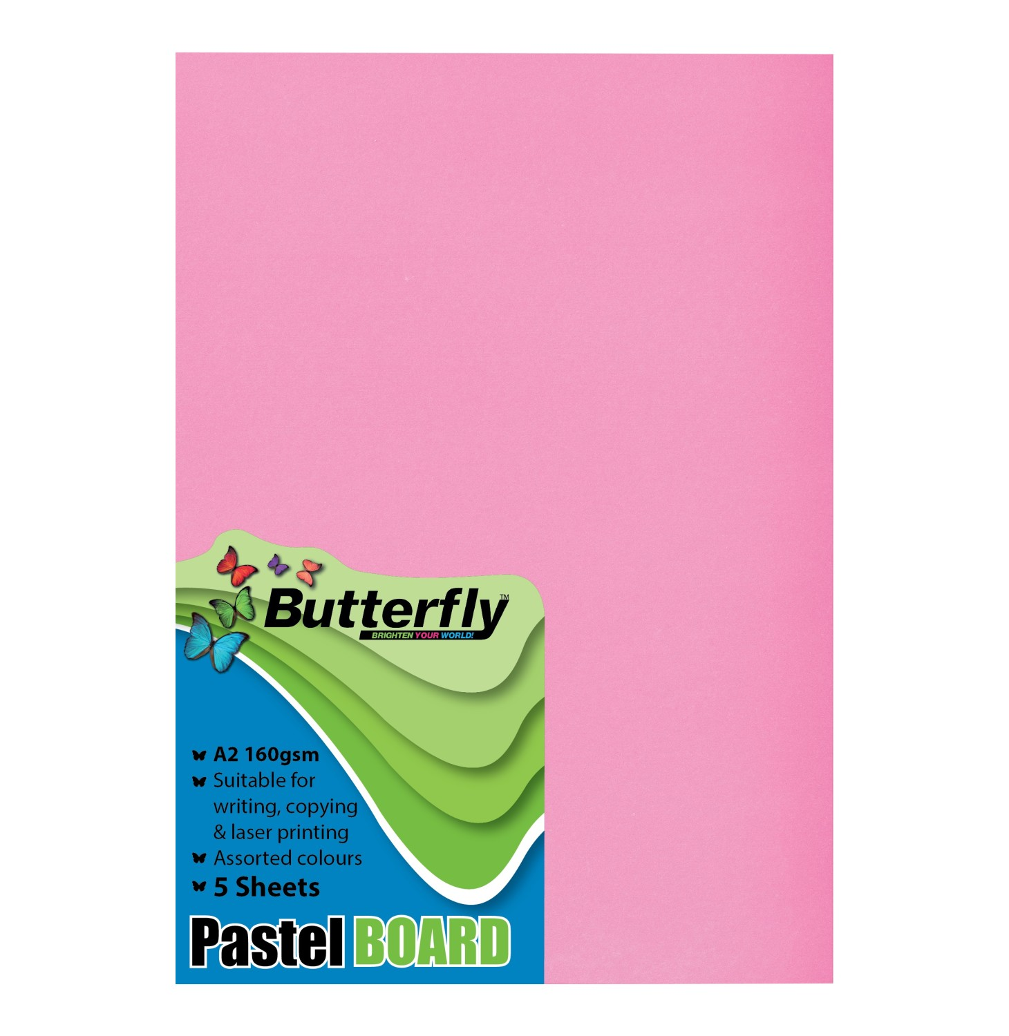 Butterfly A2 colour Board 5 sheets assorted