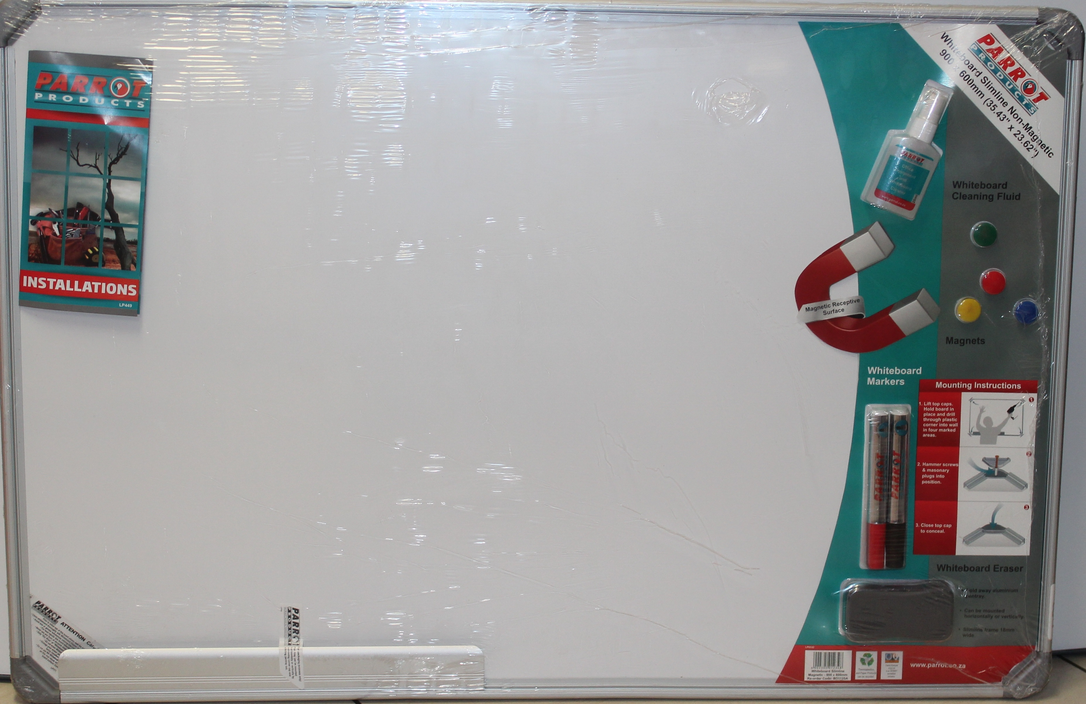 Parrot Whiteboard Slimline Magnetic 900mmx600mm Retail