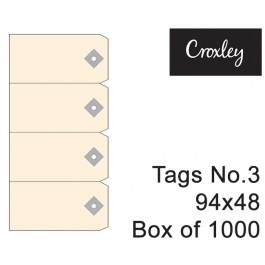 Croxley No 3 Buff Tags 95x48mm - Tag3