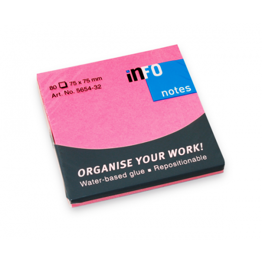 Info Notes 75x75 Bright Pink(80 Sheets)