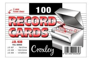 Croxley JD638 Record Cards 102mmx152mm