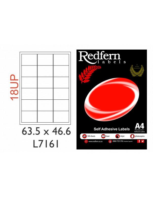 Redfern Laser Label 18UP (63.5mmx46.6mm) 7161