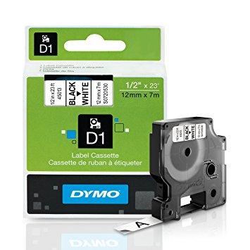 Dymo Elec Tape 12X7 Black on White Tape