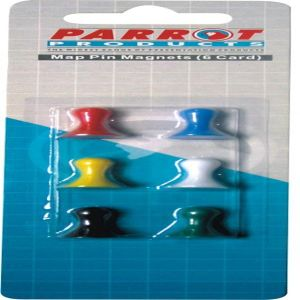 Parrot Magnets Map Pins 16mm (6-Card) Assorted