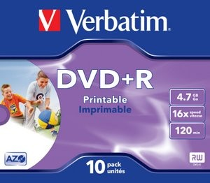 Verbatim DVD+R Printable 16x Speed 10pack