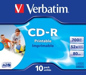 Verbatim CD-R 52x Speed 700mb Printable - Fast Dry Jewel Case 10pack
