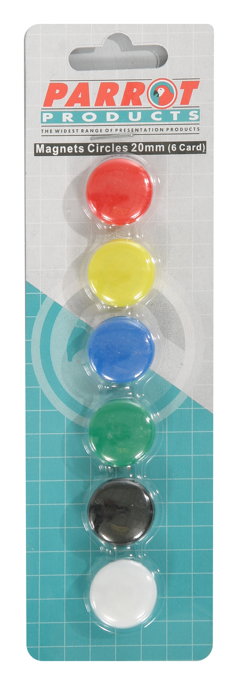 Parrot Magnets Circle 20mm (6-Card) Assorted