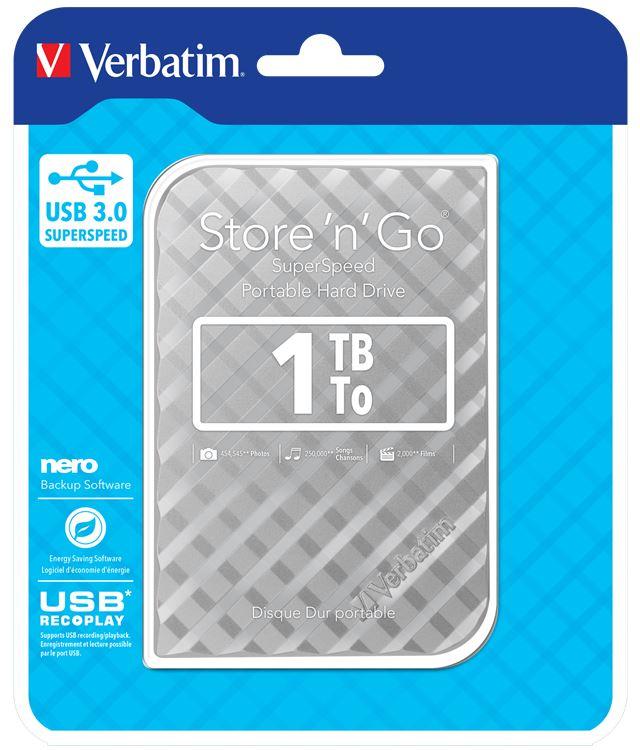 Verbatim 2.5 USB 1TB Hard Drive Silver Generation 2