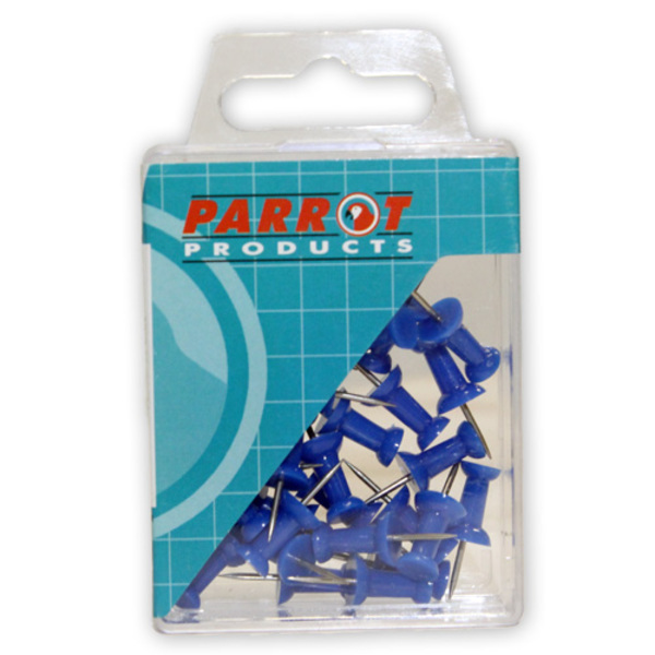 Parrot Thumb Tacks Carded Pack 25 Blue