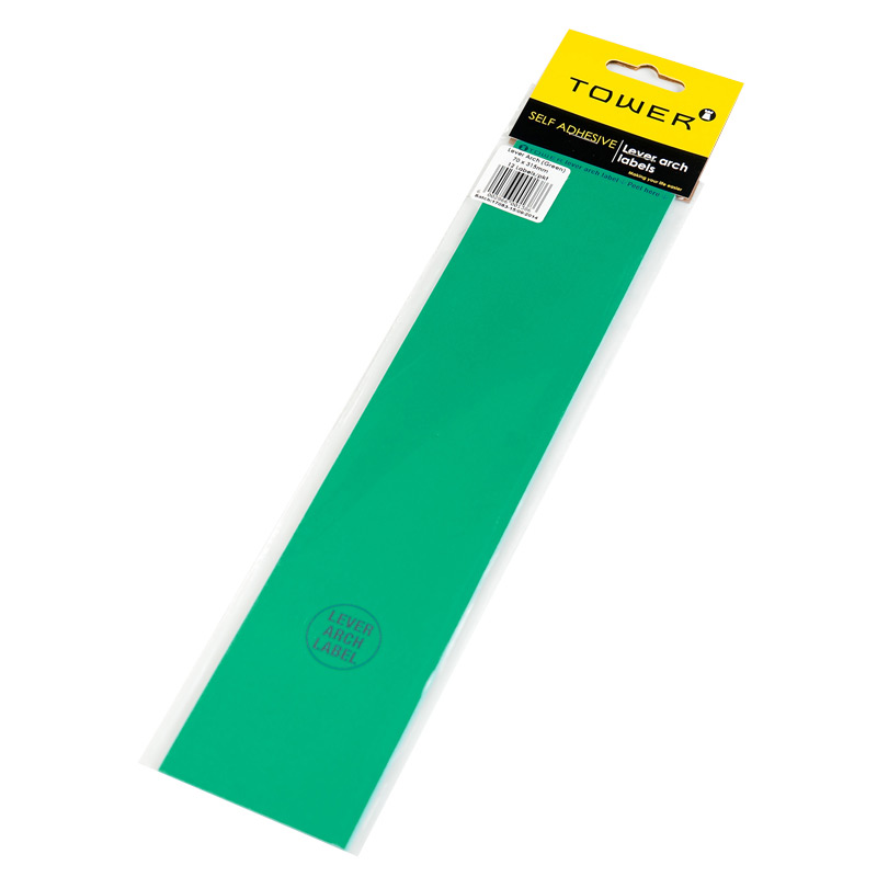 Tower Lever Arch Label 12 Green 70mmx320mm