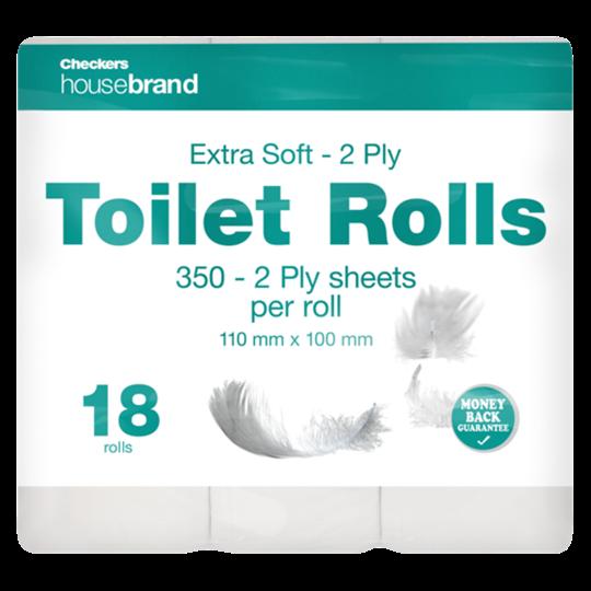 TOILET ROLLS 2PLY WHITE HOUSEBRAND 18S