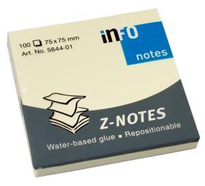 "Info ""Z"" Notes 75mmx75mm Pop-Ip Yellow"