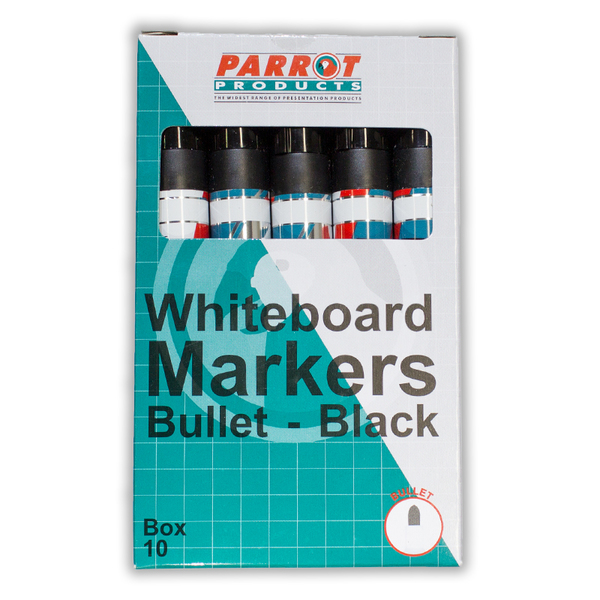 Parrot Marker Whiteboard Bullet Box 10 Black