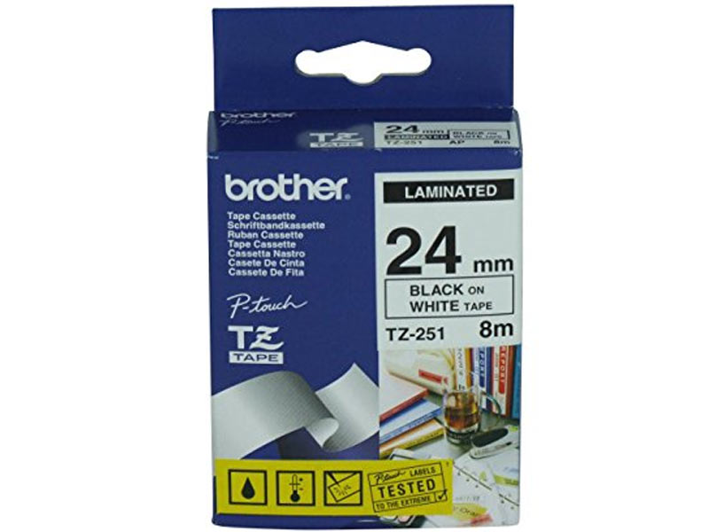 Brother TZ251 24mmx8m Black On White Tape