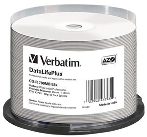 Verbatim CD-R 700mb 52x Speed 50pack Wide White Printable