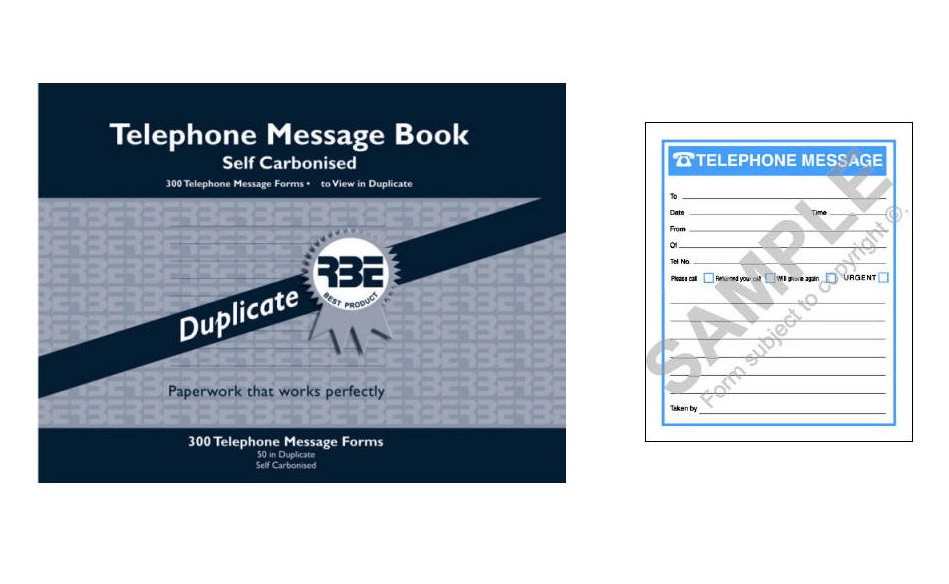 RBE Telephone Msg Book Self Carbonised Duplicate 6 to View
