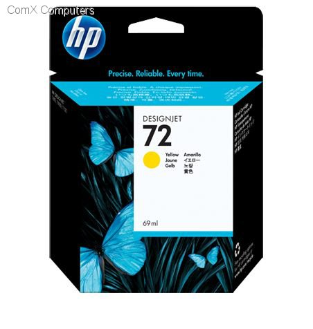 HP 72 69ML YELLOW INK CARTRIDGE FOR USE IN SELECTED HP PRINTERS.