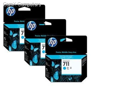 HP 711 3 PACK CYAN INK CARTRIDGES FOR DESIGNJET T120 (29ML)