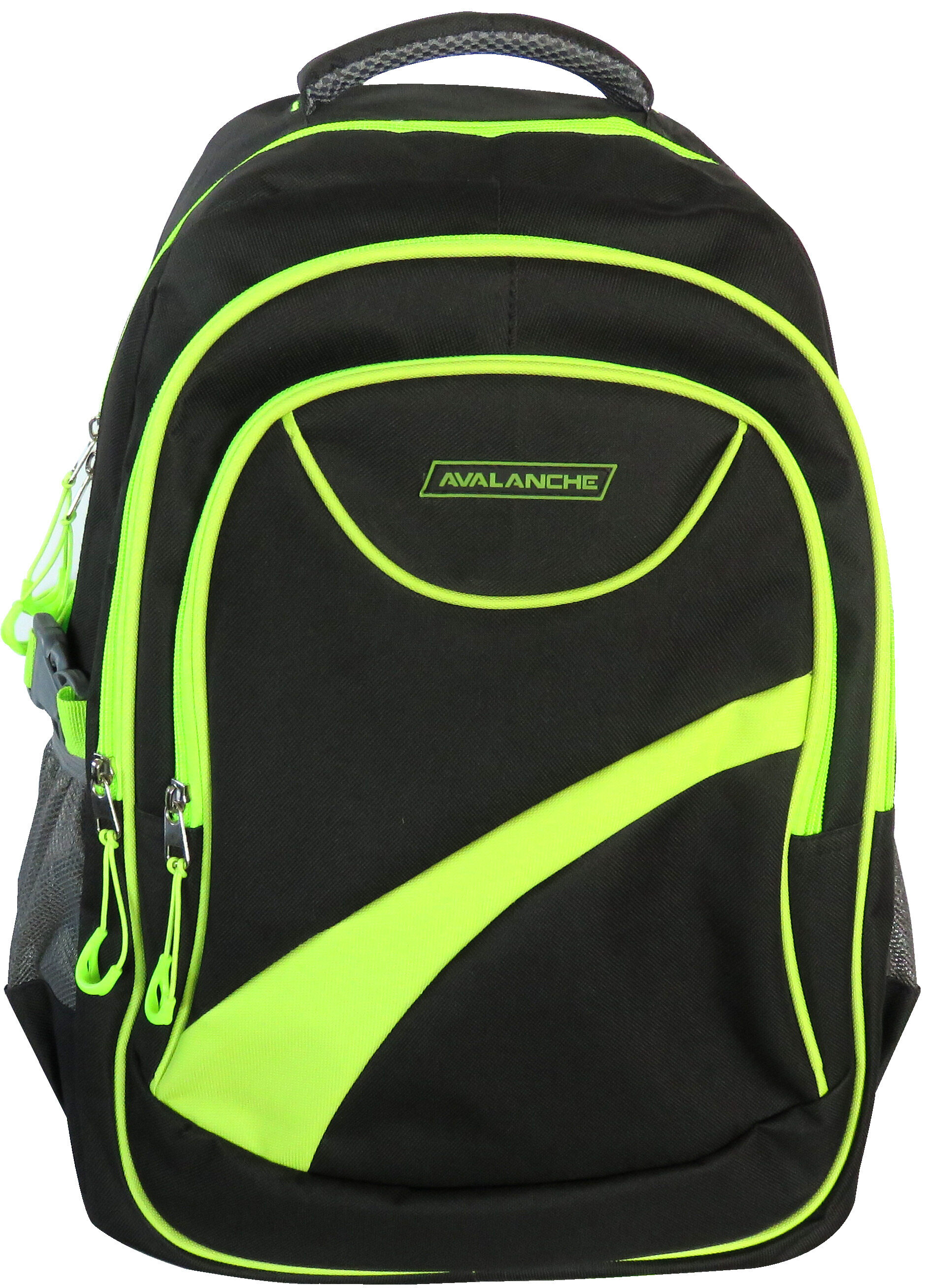 Avalanche Standard Student Backpack - Black-Lime