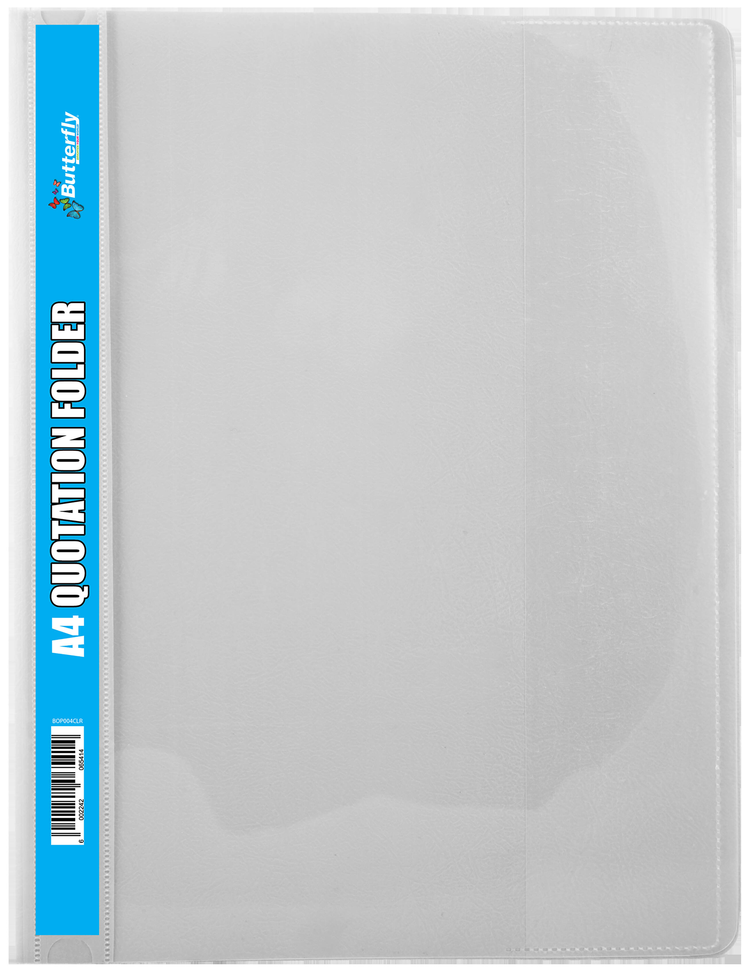 A4 Quotation Folders - 180 Micron - Clear